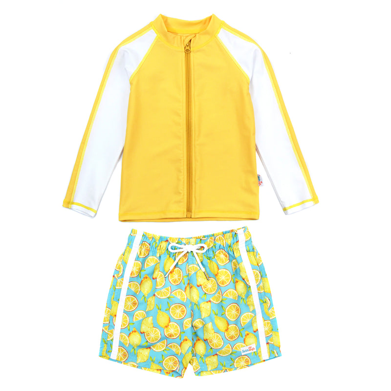 "Boy's Long Sleeve Rash Guard and Swim Trunk Set - ""Lemons""-12-18 Month-Lemons-SwimZip UPF 50+ Sun Protective Swimwear & UV Zipper Rash Guards-pos1"