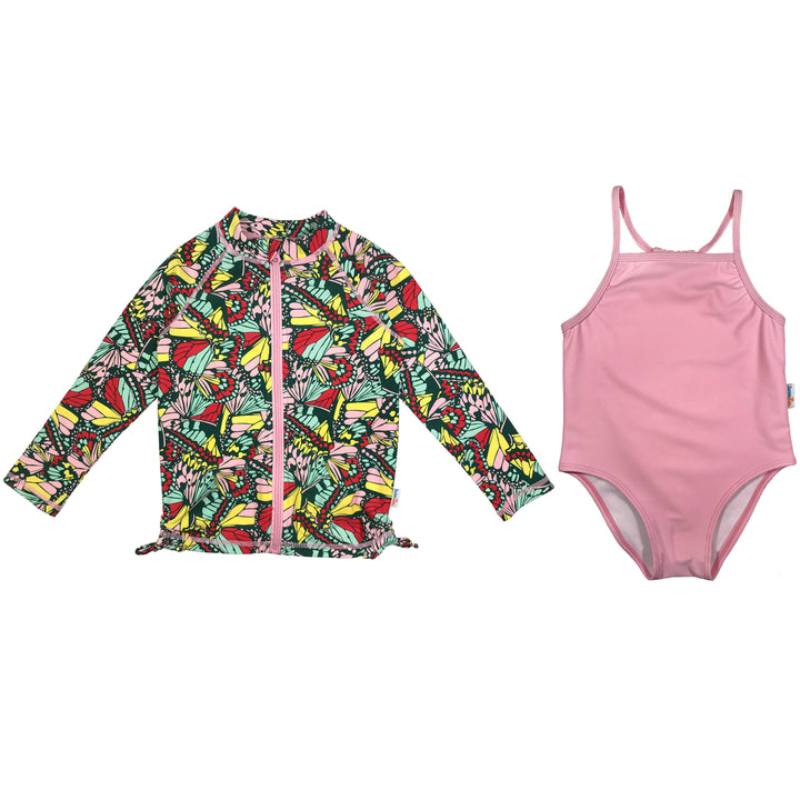 "Girl One-Piece Swimsuit and Long Sleeve Rash Guard Set UPF 50+ | ""Butterfly Love"" - SwimZip Sun Protection Swimwear"