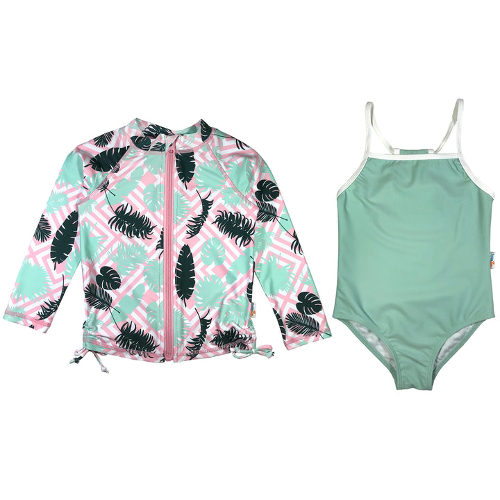 girl palm rash guard set long sleeve swimzip mint green zipper