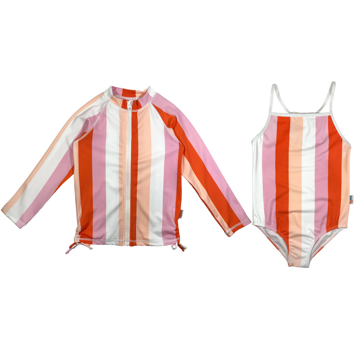 "Girl One-Piece Swimsuit and Long Sleeve Rash Guard Set UPF 50+ | ""Peachy Stripes"" - SwimZip Sun Protection Swimwear"