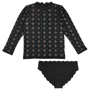 Girl Long Sleeve Laser Cut Scallop Neck Zipper Rash Guard and Scallop Swim Bottoms UPF 50+