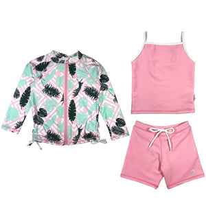 "Girl Long Sleeve Rash Guard Shorts Set with Tankini (3 Pieces) UPF 50+ | ""Palm Breeze"" - SwimZip Sun Protection Swimwear"
