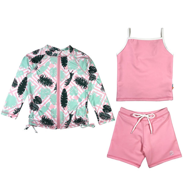 girl long sleeve rash guard shorts set tankini pink palm upf 50+  swimzip