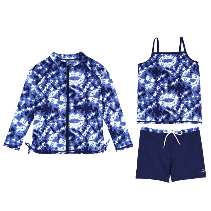 "Girl Long Sleeve Rash Guard Shorts Set - 3 Piece | ""Tie Dye"" - SwimZip Sun Protection Swimwear"
