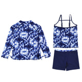 "Girl Long Sleeve Rash Guard Shorts Set - 3 Piece | ""Tie Dye""-SwimZip UPF 50+ Sun Protective Swimwear & UV Zipper Rash Guards-pos2"