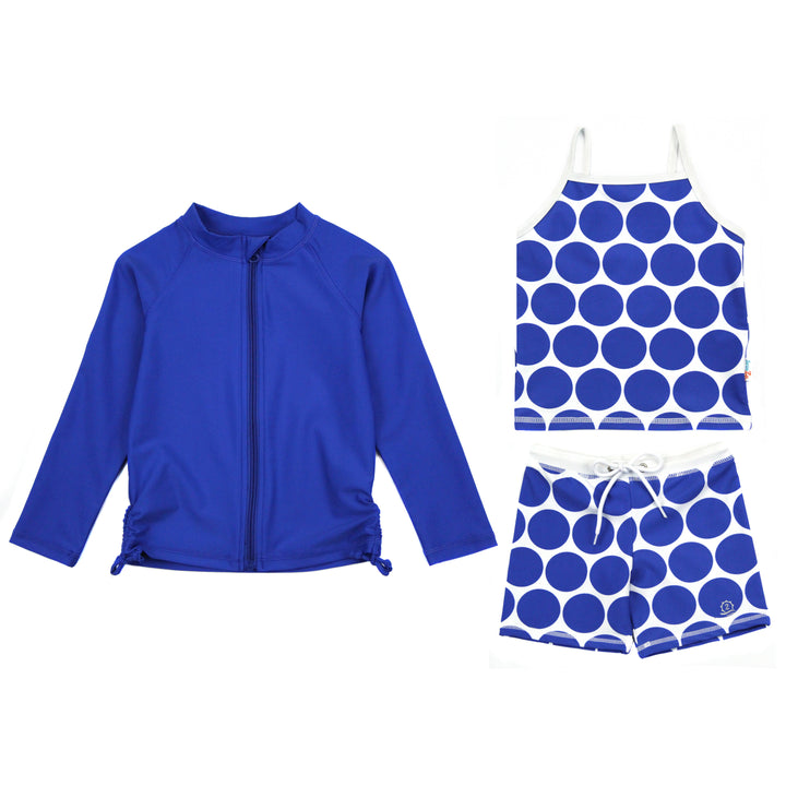 "Girl Long Sleeve Rash Guard Shorts Set - 3 Piece | ""Oversized Dot"" - SwimZip Sun Protection Swimwear"
