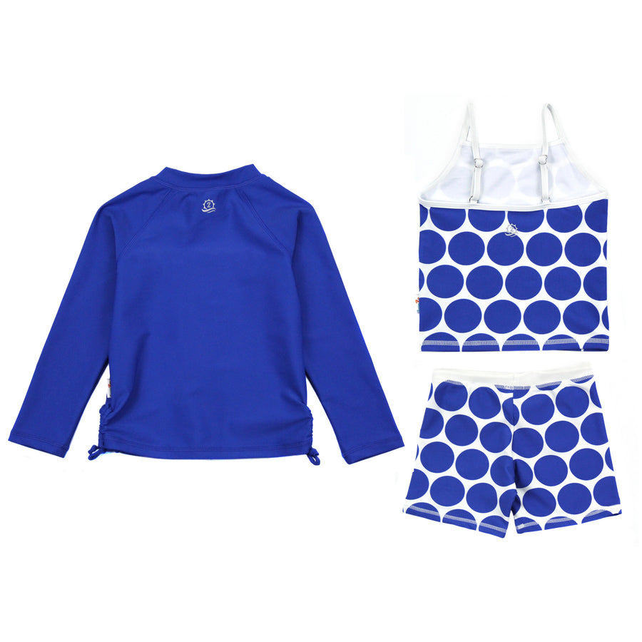 "Girl Long Sleeve Rash Guard Shorts Set - 3 Piece | ""Oversized Dot""-SwimZip UPF 50+ Sun Protective Swimwear & UV Zipper Rash Guards-pos3"