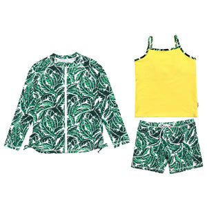 "Girl Long Sleeve Rash Guard Shorts Set - 3 Piece | ""Palm Leaf"" - SwimZip Sun Protection Swimwear"