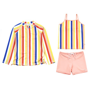 "Girl Long Sleeve Rash Guard Shorts Set - 3 Piece | ""Multi Stripe"""