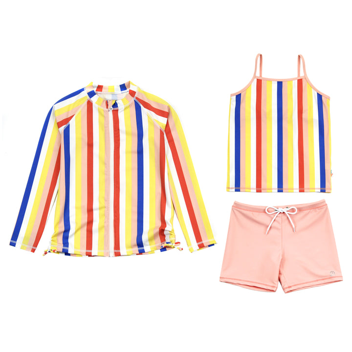 "Girl Long Sleeve Rash Guard Shorts Set - 3 Piece | ""Multi Stripe"" - SwimZip Sun Protection Swimwear"