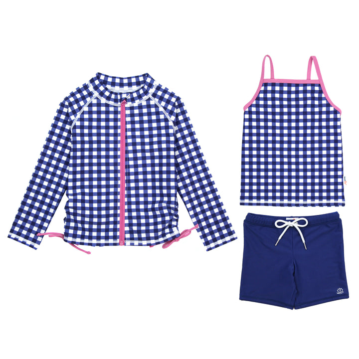 "Girl's Long Sleeve Rash Guard with Tankini + Shorts Set (3 Piece) - ""Navy Gingham"" - SwimZip Sun Protection Swimwear"
