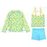 "Girl's Long Sleeve Rash Guard with Tankini + Shorts Set (3 Piece) - ""Lemons""-SwimZip UPF 50+ Sun Protective Swimwear & UV Zipper Rash Guards-pos3"