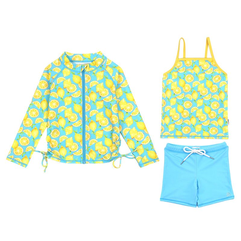 "Girl's Long Sleeve Rash Guard with Tankini + Shorts Set (3 Piece) - ""Lemons""-6-12 Month-Lemons-SwimZip UPF 50+ Sun Protective Swimwear & UV Zipper Rash Guards-pos1"