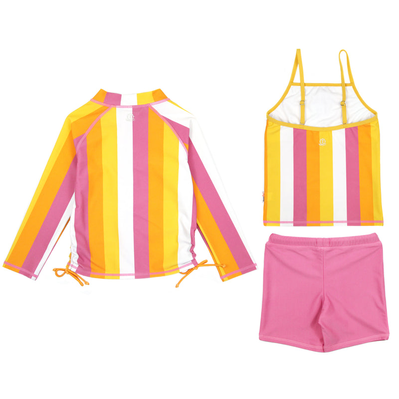 "Girl's Long Sleeve Rash Guard with Tankini + Shorts Set (3 Piece) - ""Be Bold""-SwimZip UPF 50+ Sun Protective Swimwear & UV Zipper Rash Guards-pos3"