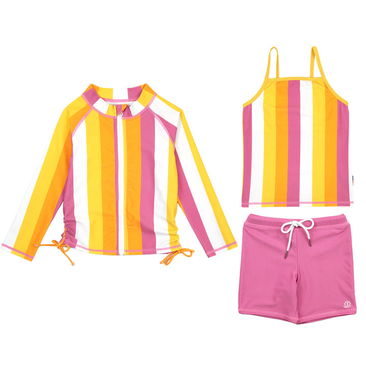 "Girl's Long Sleeve Rash Guard with Tankini + Shorts Set (3 Piece) - ""Be Bold"" - SwimZip Sun Protection Swimwear"