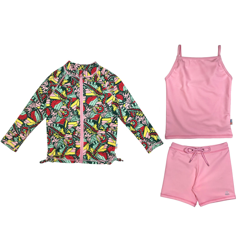"Girl Long Sleeve Rash Guard Shorts Set with Tankini (3 Pieces) UPF 50+ | ""Butterfly Love"" - SwimZip Sun Protection Swimwear"