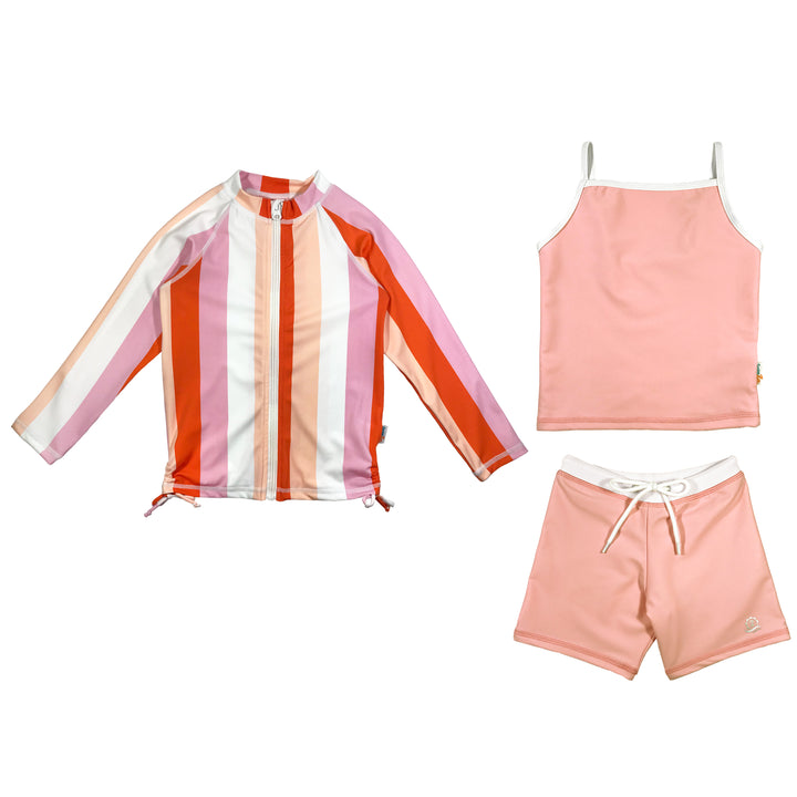 "Girl's Long Sleeve Rash Guard Shorts Set with Tankini (3 Pieces) - ""Peachy Stripes"" - SwimZip Sun Protection Swimwear"