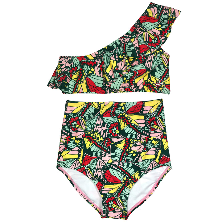 "Little Girl One-Shoulder + High Waist Bottom Swimsuit (2 Piece) - ""Butterfly Love"" - SwimZip Sun Protection Swimwear"