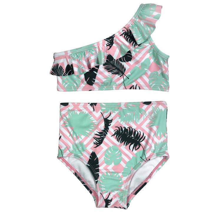 "Little Girl One-Shoulder + High Waist Bottom Swimsuit (2 Piece) - ""Palm Breeze"" - SwimZip Sun Protection Swimwear"
