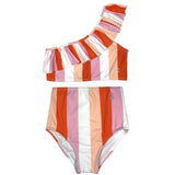 "Little Girl One-Shoulder + High Waist Bottom Swimsuit (2 Piece) - ""Peachy Stripes""-6-12 Month-Peach Stripes-SwimZip UPF 50+ Sun Protective Swimwear & UV Zipper Rash Guards-pos1"