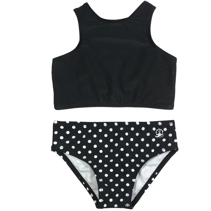 "Girl's Halter Top Set (2 Piece) - ""Black Polka Dot"" - SwimZip Sun Protection Swimwear"