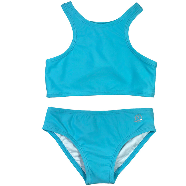 "Girl's Halter Top Set (2 Piece) - ""Aqua Waves"" - SwimZip Sun Protection Swimwear"