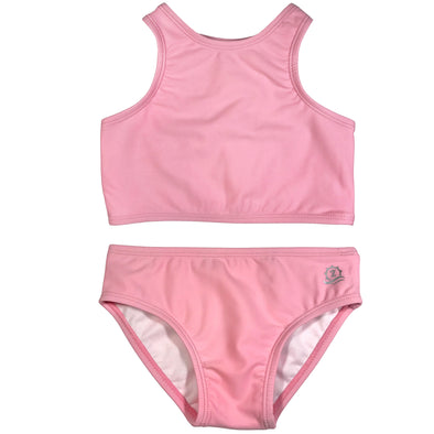 best solid and striped swim two piece swimwear for girls pink by SwimZip