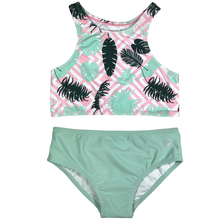 "Girl's Halter Top Set (2 Piece) - ""Palm Breeze"" - SwimZip Sun Protection Swimwear"