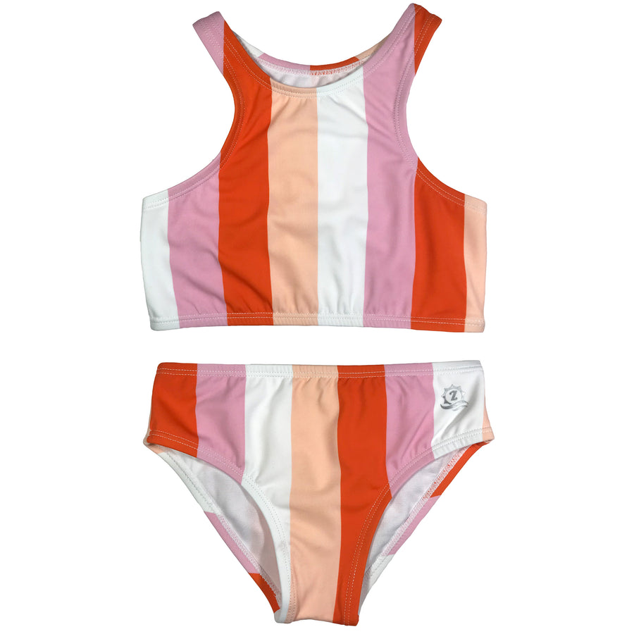 "Girl's Halter Top Set (2 Piece) - ""Peachy Stripes"" - SwimZip Sun Protection Swimwear"
