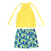 "Boy Long Sleeve Rash Guard Swimsuit and Swim Trunk Set | ""Geo Wave"""