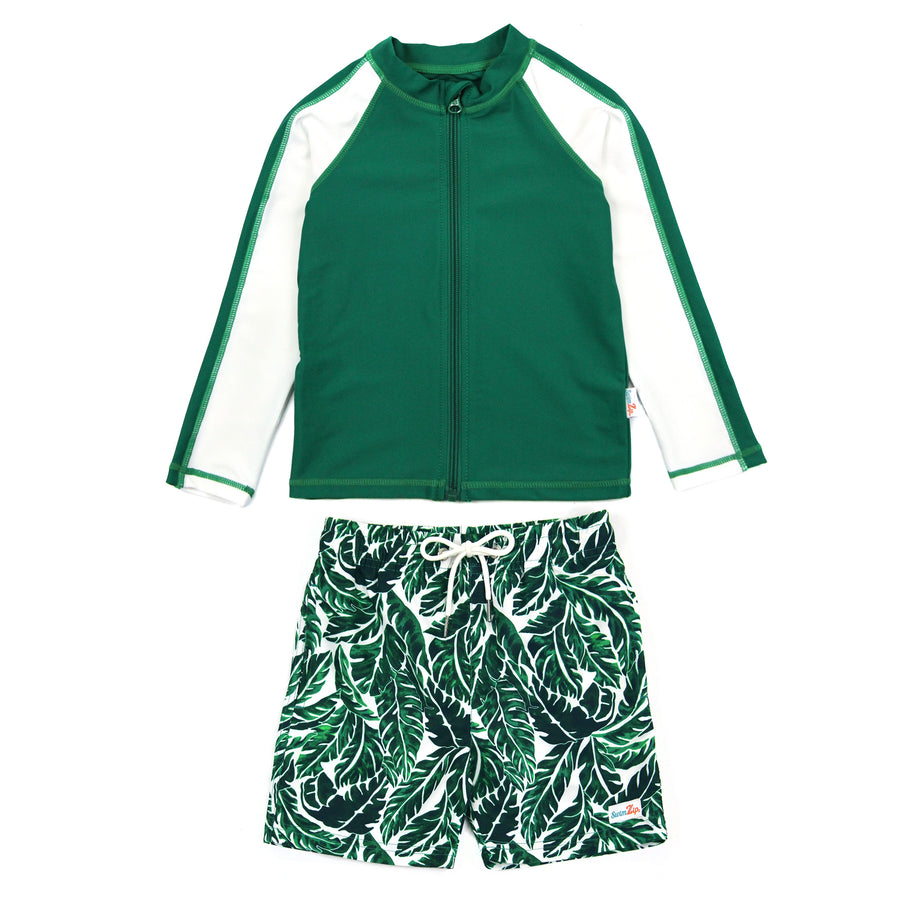 "Boy Long Sleeve Rash Guard Swimsuit and Swim Trunk Set | ""Palm Leaf"" - SwimZip Sun Protection Swimwear"