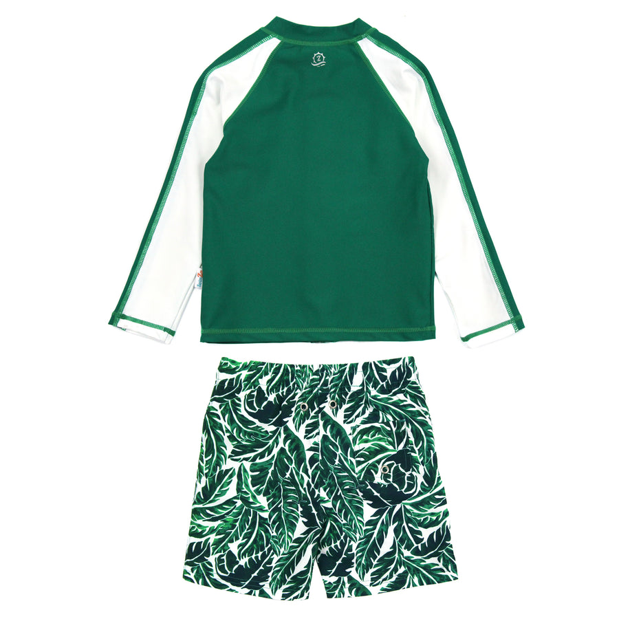 "Boy Long Sleeve Rash Guard Swimsuit and Swim Trunk Set | ""Palm Leaf"""