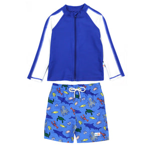 "Boy Long Sleeve Rash Guard Swimsuit and Board Shorts Set | ""Sea Animal"""