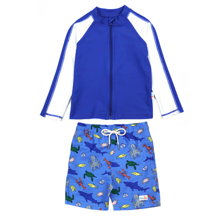 "Boy Long Sleeve Rash Guard Swimsuit and Board Shorts Set | ""Sea Animal"" - SwimZip Sun Protection Swimwear"