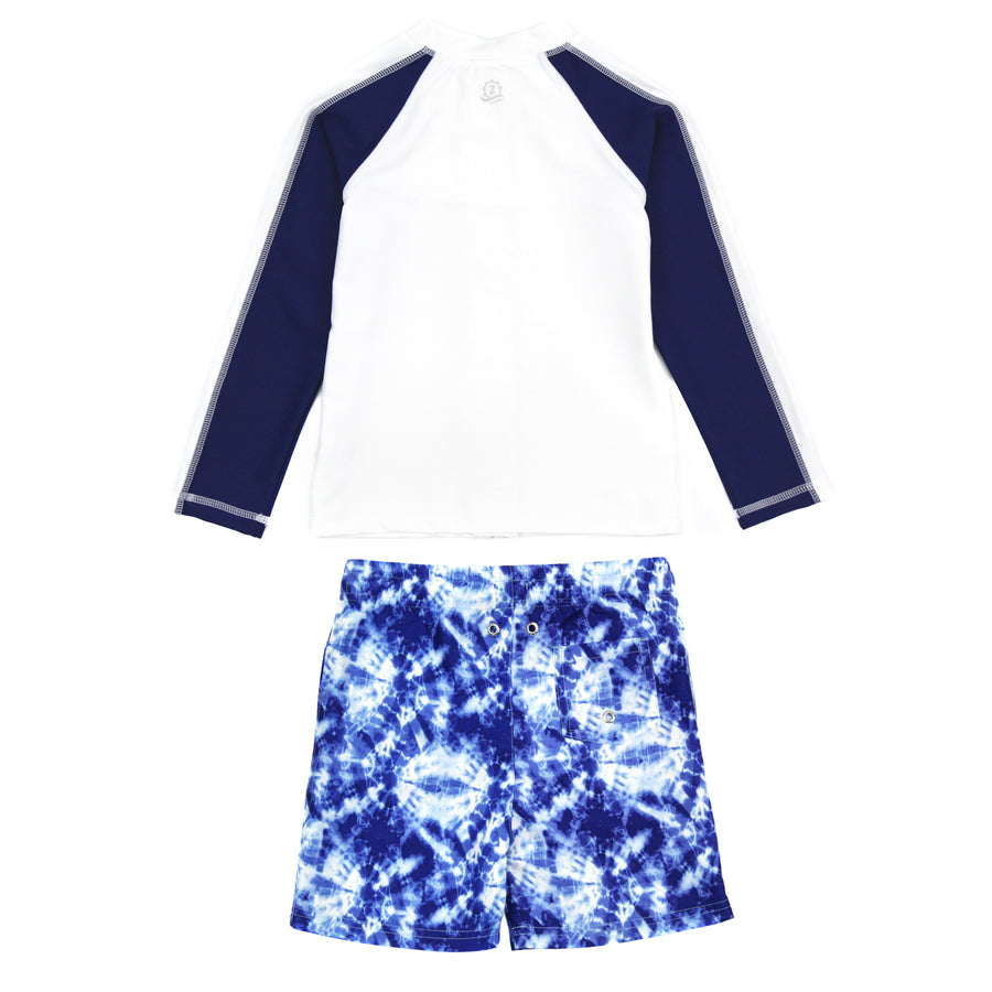 "Boy Long Sleeve Rash Guard Swimsuit and Swim Trunk Set | ""Tie Dye"""