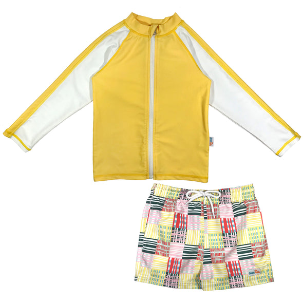 boy long sleeve rash guard set yellow upf 50+ swimzip madras trunks
