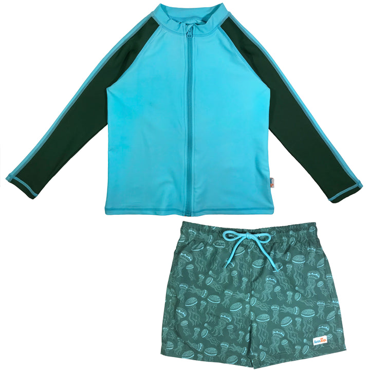 "Boy Long Sleeve Rash Guard Swimsuit Board Shorts Set UPF 50+ | ""Jelly Jellyfish"" - SwimZip Sun Protection Swimwear"