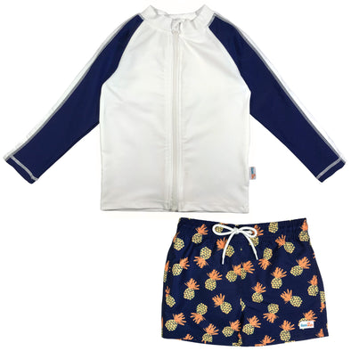 boy pineapple swimsuit long sleeve rash guard swimzip