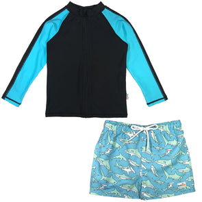 boy shark rash guard swim set long sleeve upf swimzip