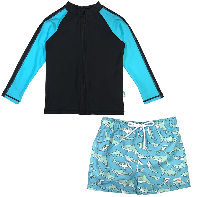 "Boy Long Sleeve Rash Guard Swimsuit and Board Shorts Set - ""Deep Blue Sharks""-6-12 Month-Deep Blue Sharks-SwimZip UPF 50+ Sun Protective Swimwear & UV Zipper Rash Guards-pos1"