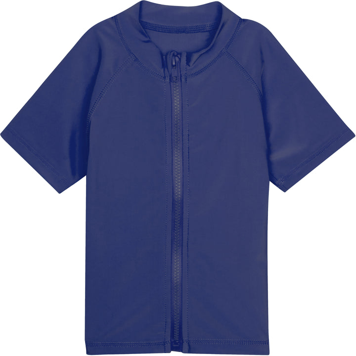 Kid's Short Sleeve Rash Guard Swim Shirt - Navy - SwimZip Sun Protection Swimwear