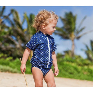 Girl's Short Sleeve Rash Guard Swimwear Set - Navy Sassy Surfer - SwimZip Sun Protection Swimwear