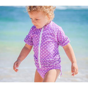 Girl's Short Sleeve Rash Guard Swimsuit Set - Purple Violet Sassy Surfer - SwimZip Sun Protection Swimwear
