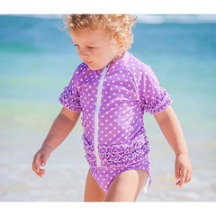 Little Girl UPF 50+ Rash Guard Swimsuit Set | Sassy Surfer (Purple Violet) - UV Sun Protective