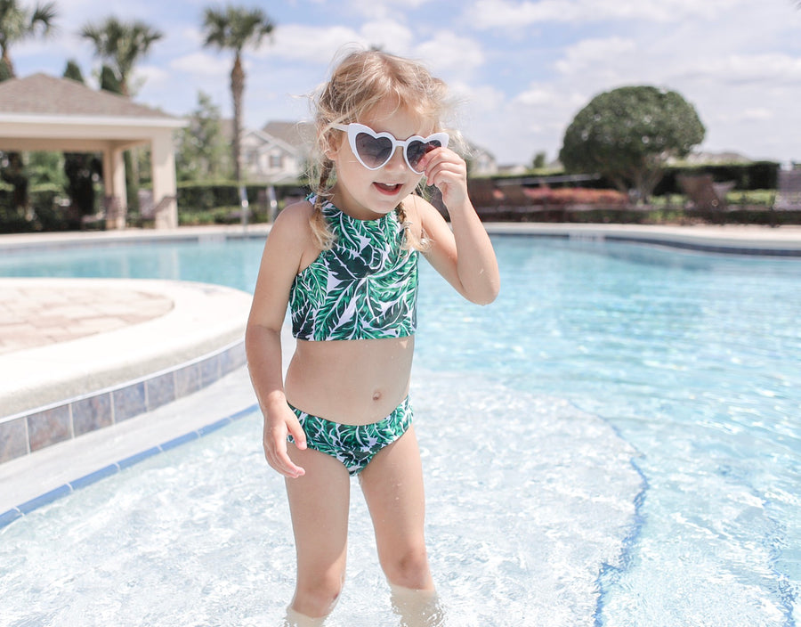 "Girl's Halter Top Set (2 Piece) | ""Palm Leaf"" - SwimZip Sun Protection Swimwear"