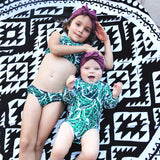 "Girl's Halter Top Set (2 Piece) | ""Palm Leaf""-SwimZip UPF 50+ Sun Protective Swimwear & UV Zipper Rash Guards-pos5"