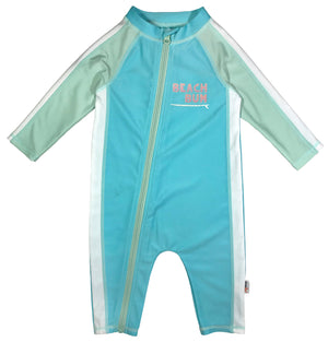 "Sunsuit - Long Sleeve Romper Swimsuit with UPF 50+ | ""Beach Bum"" - SwimZip Sun Protection Swimwear"