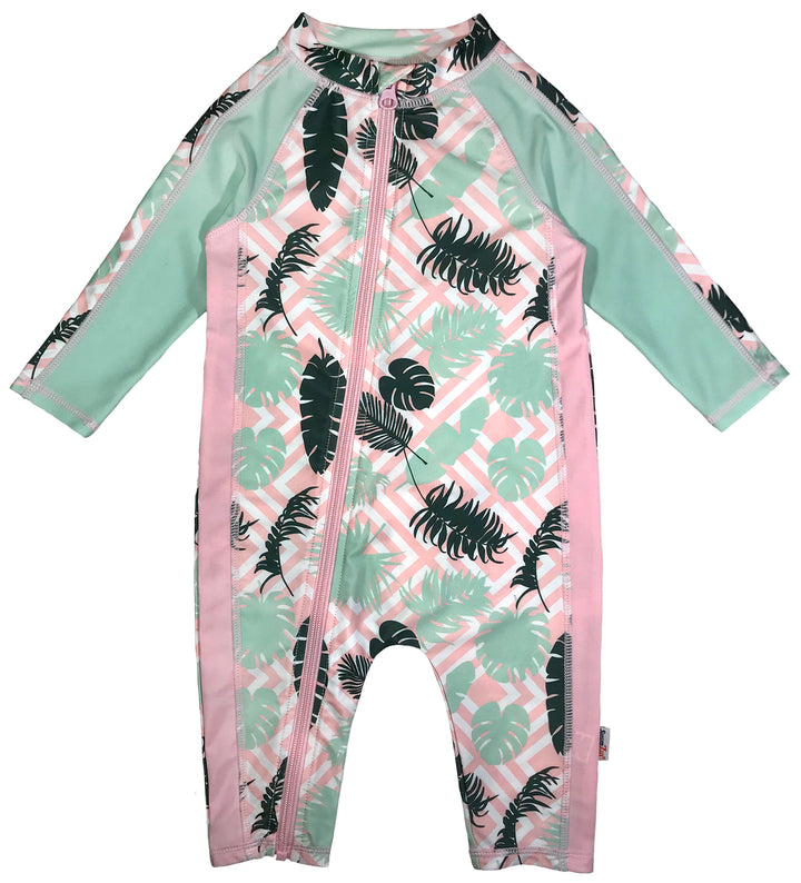 "Sunsuit - Girl Long Sleeve Romper Swimsuit with UPF 50+ UV Sun Protection | ""Palms"" - SwimZip Sun Protection Swimwear"