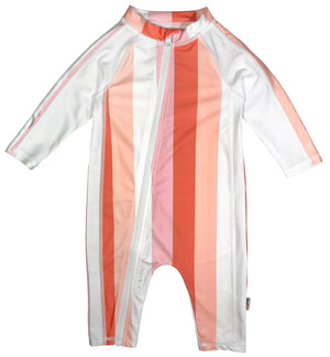 "Sunsuit - Girl Long Sleeve Romper Swimsuit with UPF 50+ | ""Peachy Stripe""-0-6 Month-Peach Stripes-SwimZip UPF 50+ Sun Protective Swimwear & UV Zipper Rash Guards-pos1"
