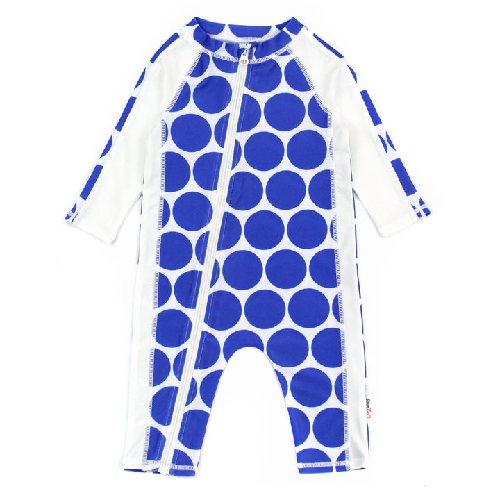 "Sunsuit - Girl Long Sleeve Romper Swimsuit with UPF 50+ UV Sun Protection | ""Oversized Dot"""
